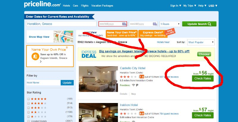 Priceline landing page