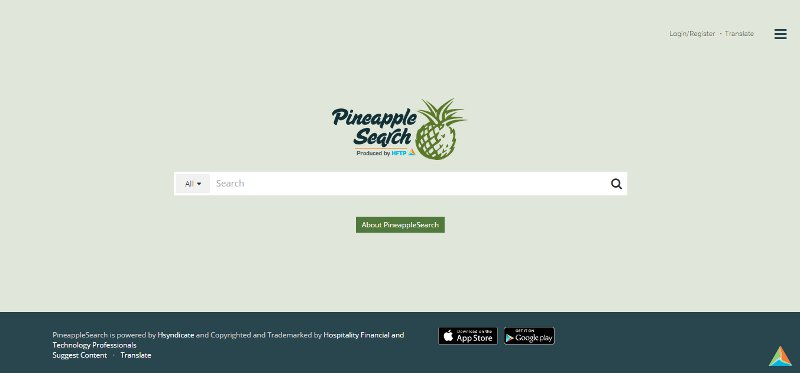 The landing of Pineapplesearch.com