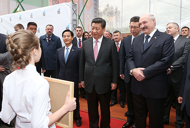 President of the Republic of Belarus Alexander Lukashenko welcomes President of the People's Republic of China Xi Jinping