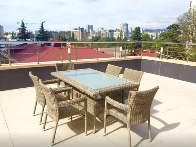 The town house's terrace overlooking downtown Sochi