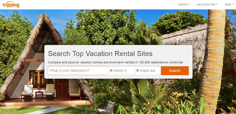 Tripping lets you search all the Airbnb competitors