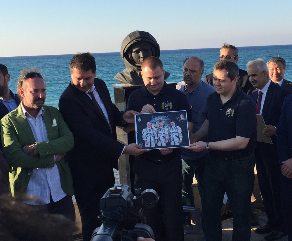 The cosmonauts at a ceremony honoring Yuri Gagarin in Heraklion
