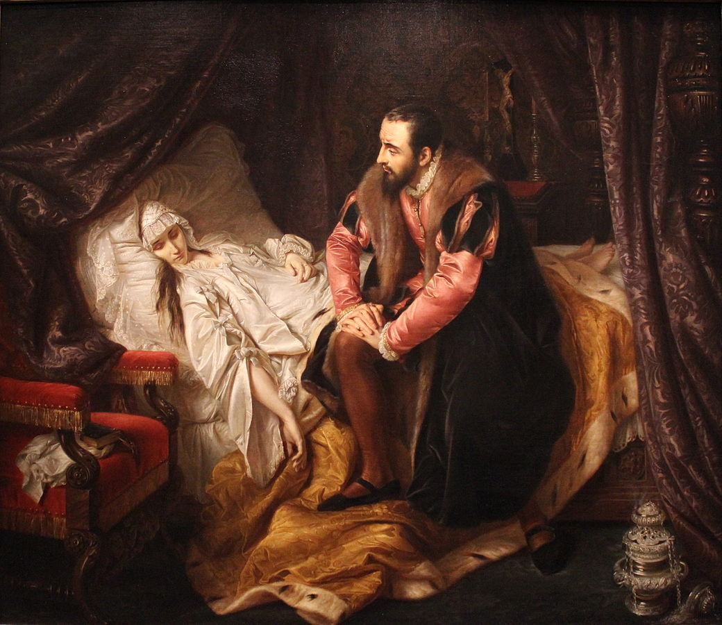 Death of Barbara Radziwiłł by Józef Simmler
