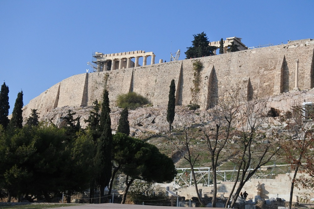 The Acropolis from the Plaka side.