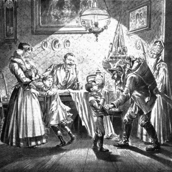 Krampus and Saint Nicholas visit a Viennese home in 1896.