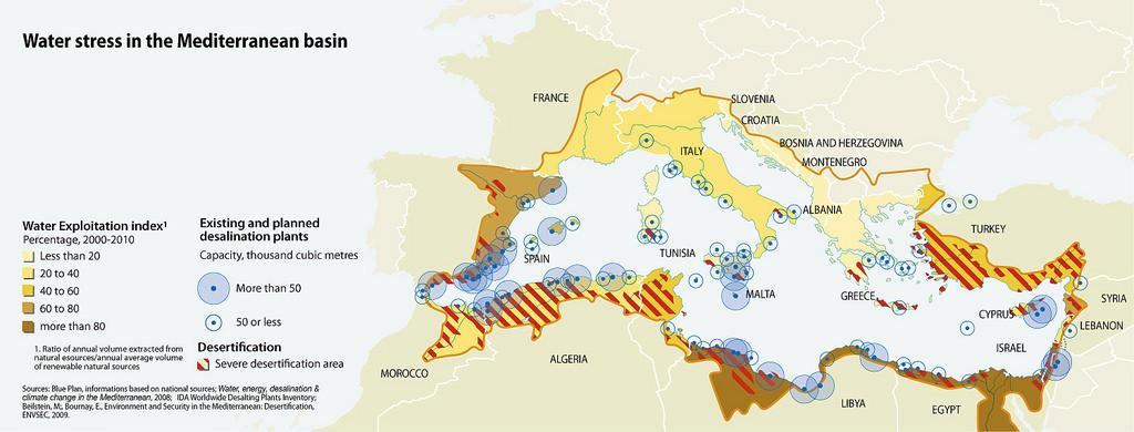 Water stress in the Mediterranean basin 2013