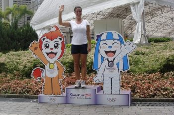 Katarina Witt in Singapore for the Youth Games