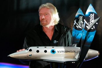 Richard Branson modeling the new SpaceShipTwo