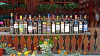 A shop displying Melnik wines for sale