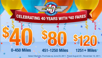 Celebrating 40 Years Of Service With $40 Fares