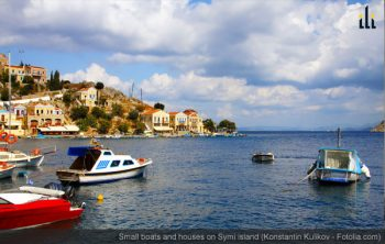 Small boats and houses on Symi island