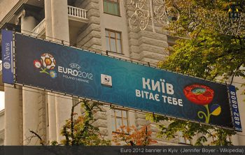Euro 2012 banner in Kyiv