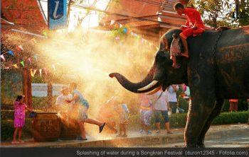 Splashing of water during a Songkran Festival