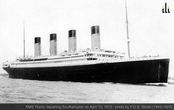 RMS Titanic departing Southampton on April 10, 1912