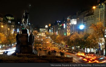 Wenceslas Square at night