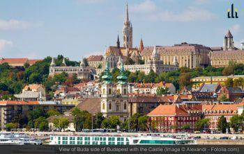 View of Buda side of Budapest with the Castle
