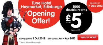 Tune Hotels promotion in Scotland
