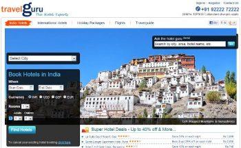 Travelguru landing page