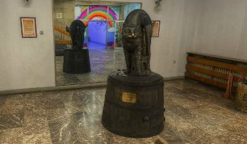 Black cat exhibit at the House of Humour and Satire in Gabrovo