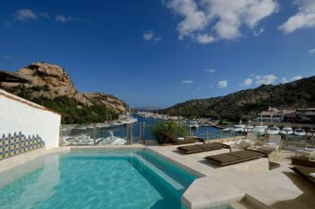 Pool view of marina in Porto Cervo