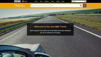 Screenshot of the new BBC Travel landing