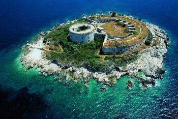 The island Lastavica and the fortress Mamula