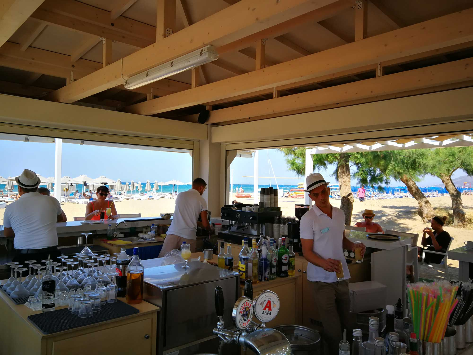 beach bar at Mythos Palace Resort & Spa.