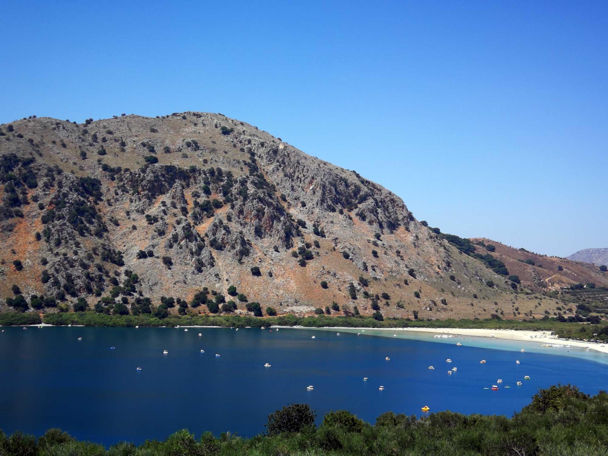 Limni Kourna, Crete's only freshwater lake.