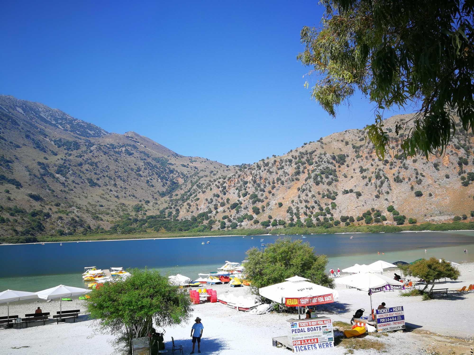 Rent a paddle-boat at Limni Kourna.