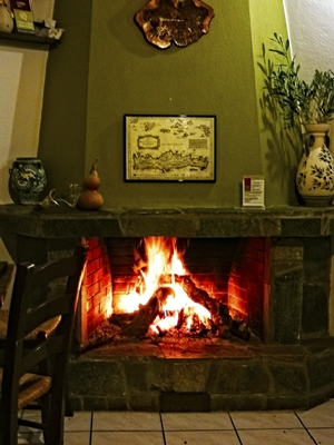 Fireplace at the small olive tree