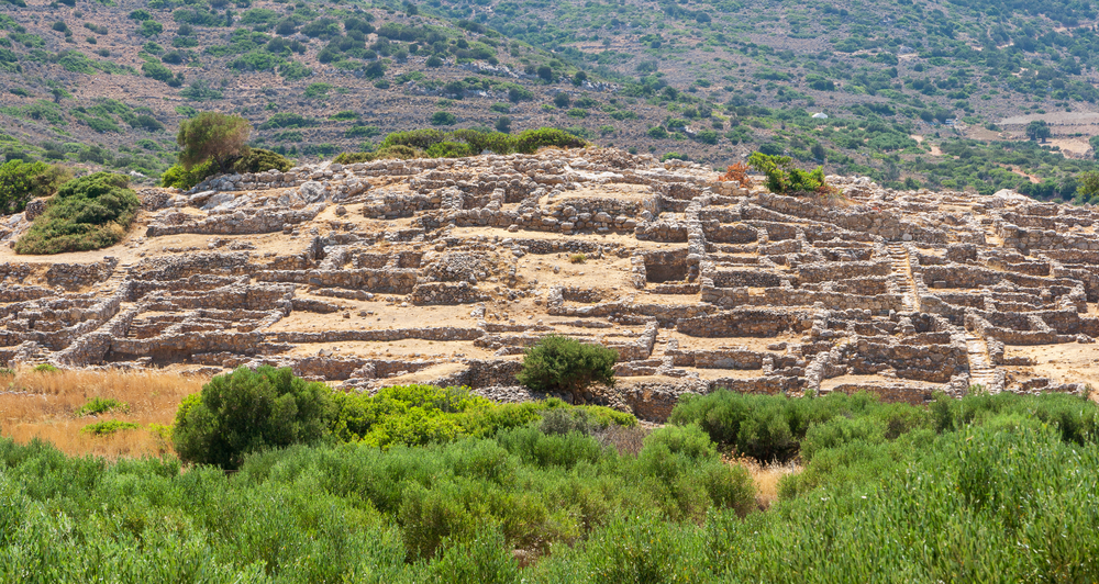 Ruins of the ancient Minoan settlement at Gournia on Crete