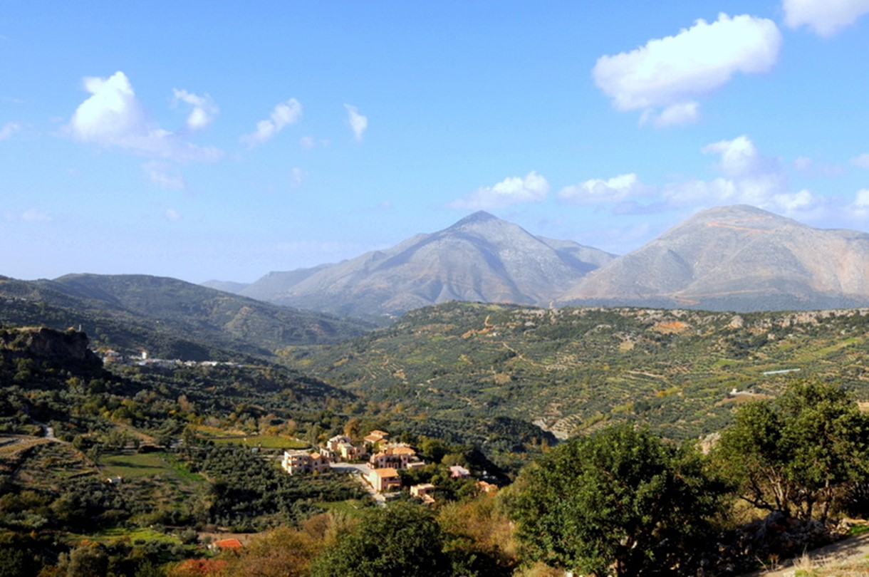 Enagron Village in the foothills beneath Mt. Psiloritis, Crete