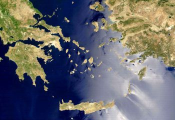 Satellite view of the Aegean Sea and Islands