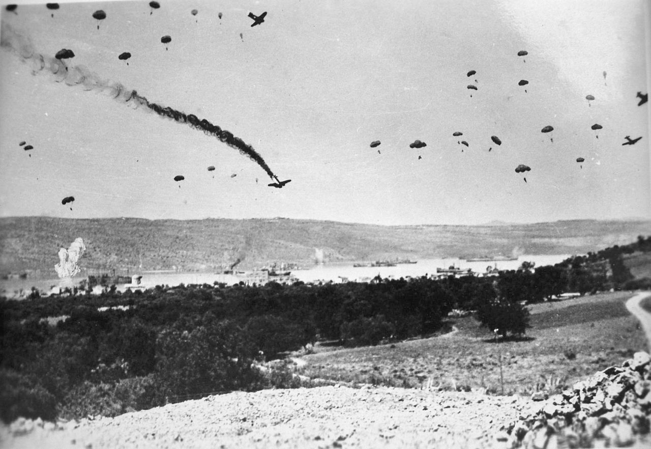 German paratroops landing on Crete