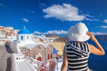 American tourist at Oia village