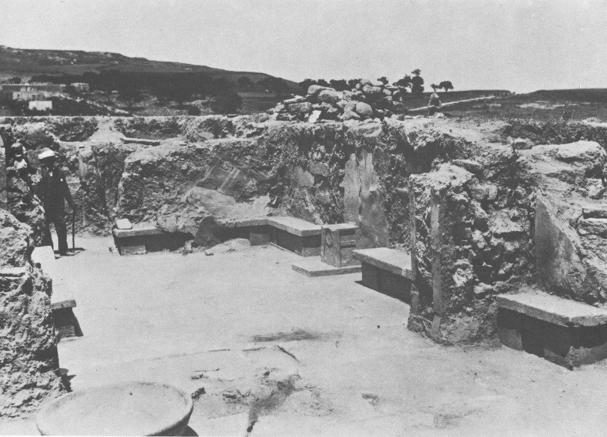 Arthur Evans in the Knossos Throne Room