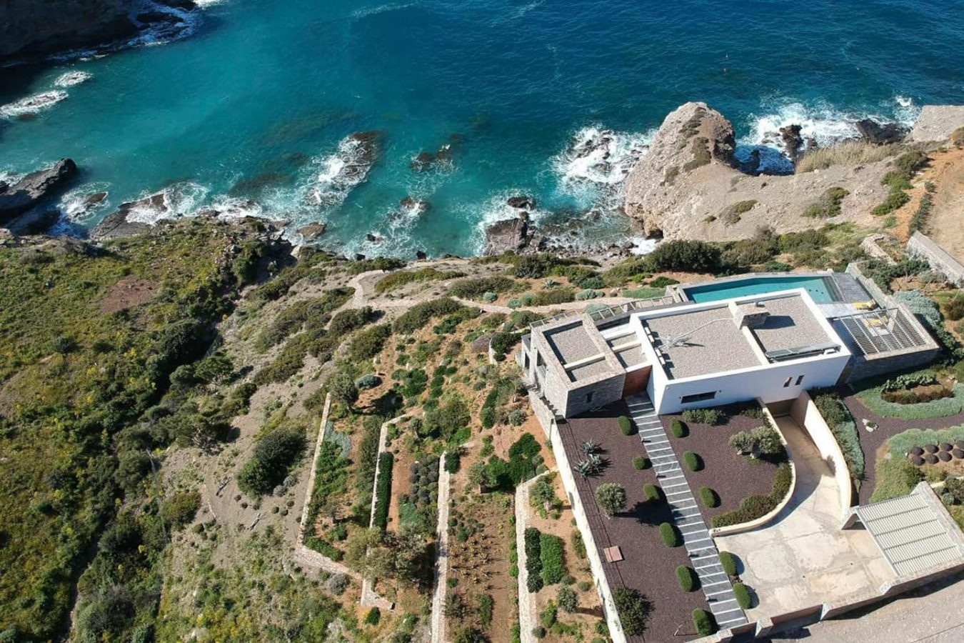 Aerial view of the Villa Faros