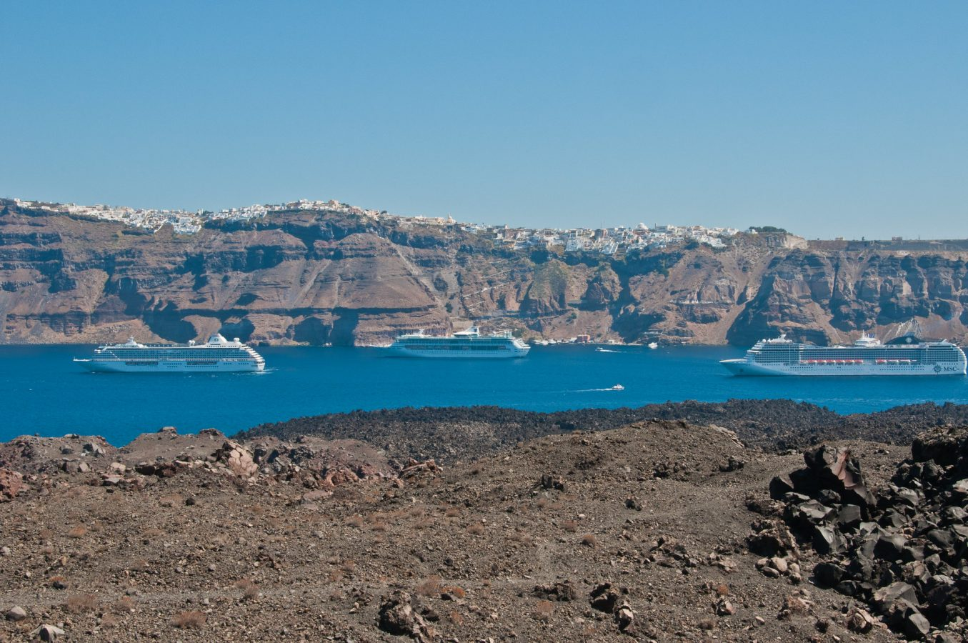 Santorini cruise ships in the caldera