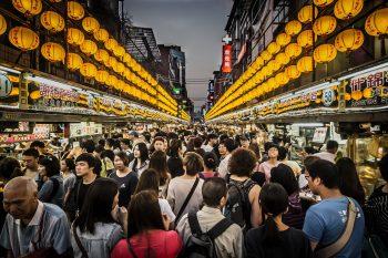 Tourist throng
