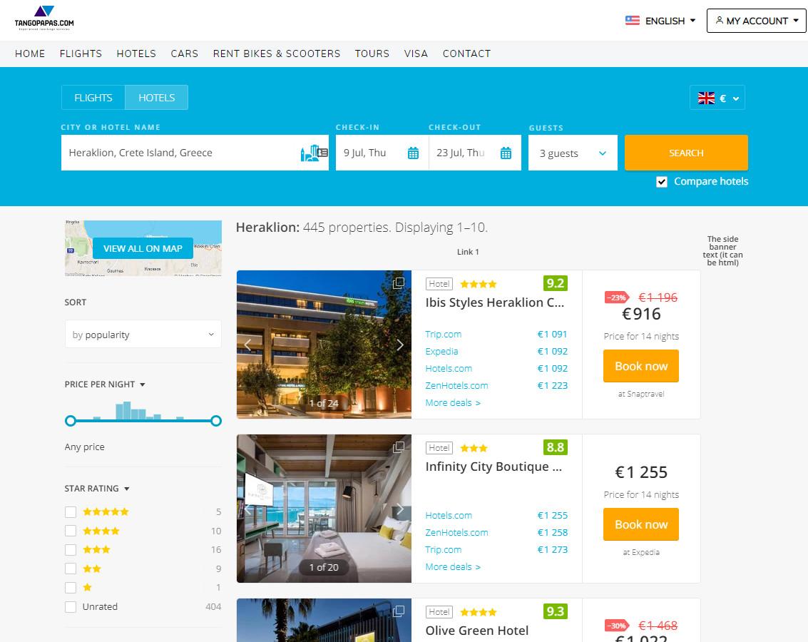 Tangopapas.com simple destination/hotel search