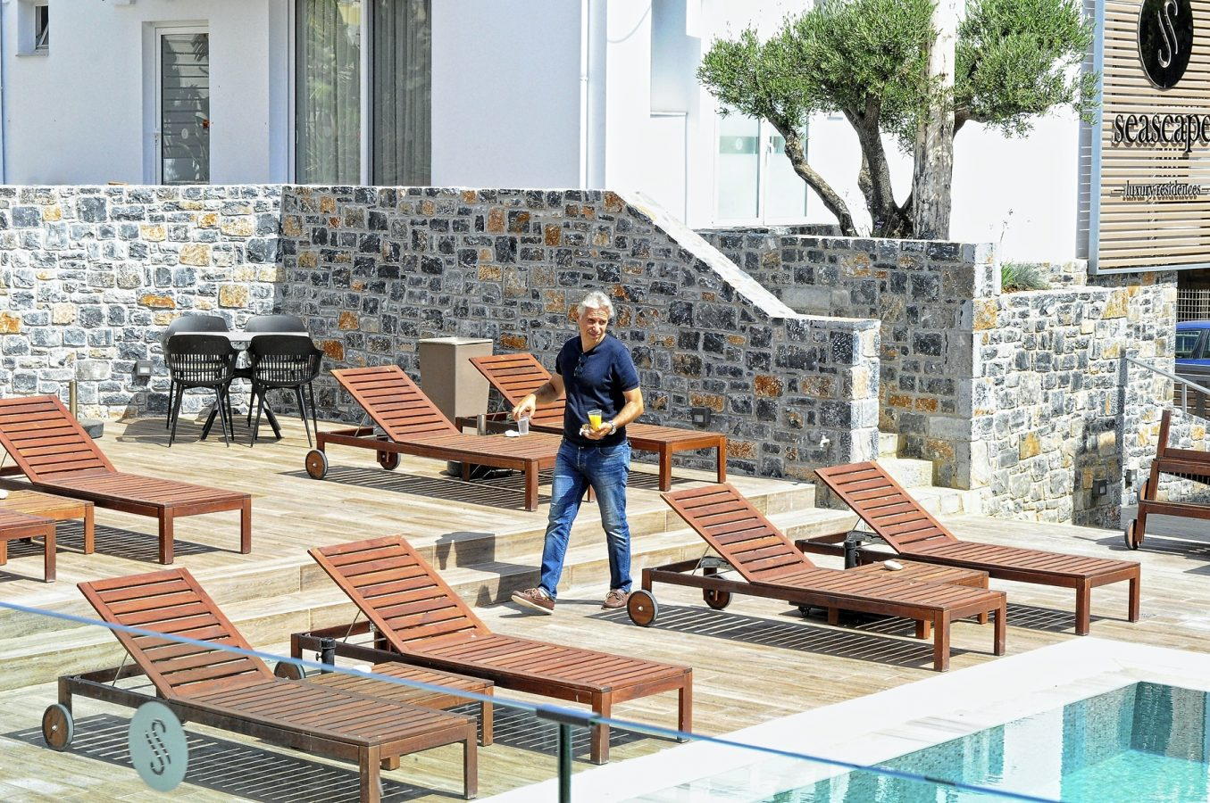 Dimitris Markakis at his fabulous SeaScape Luxury Residences in Agia Pelagia