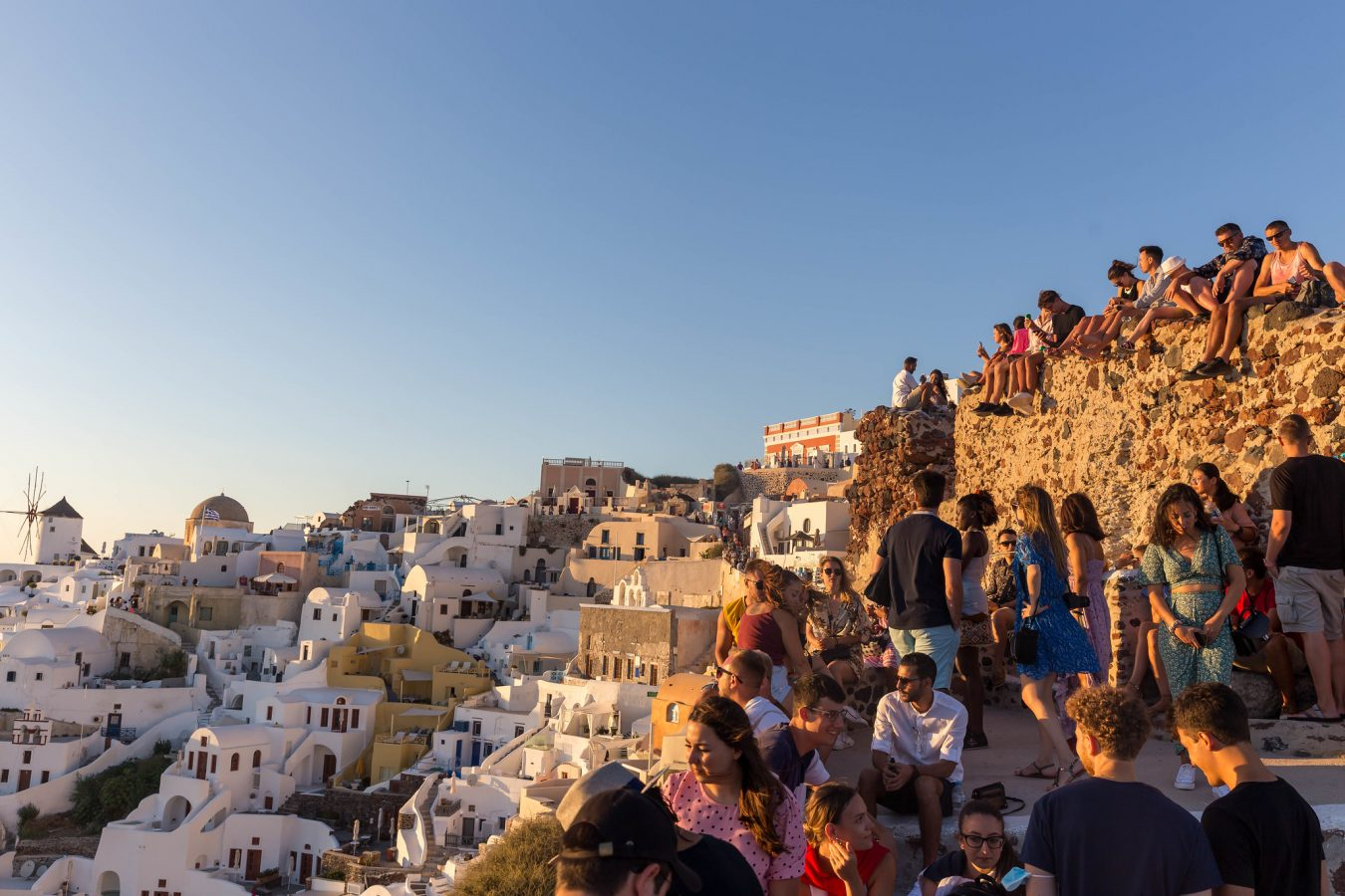 Santorini in July, no masks visible