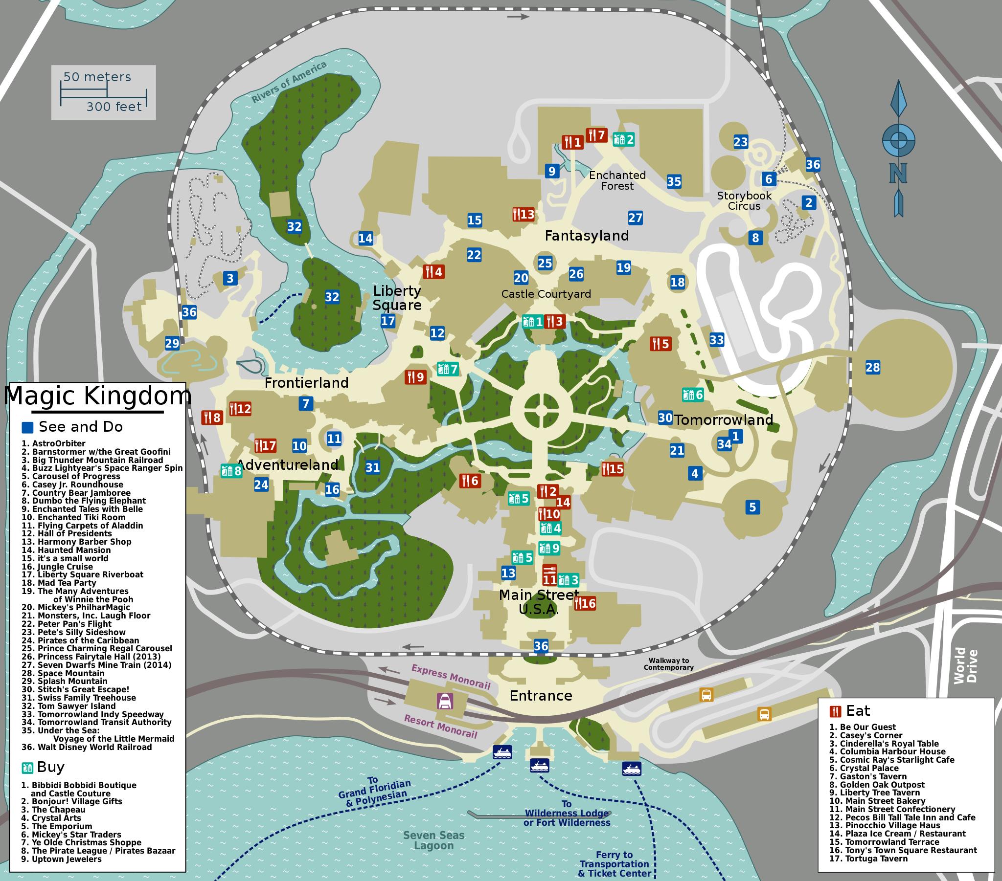 A map of Walt Disney World in Orlando, Florida