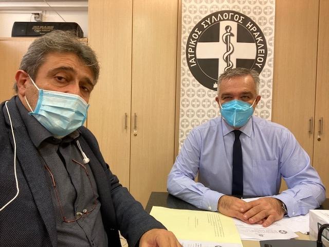 Dr. Nikos Egoumenido meets with the President of the Medical Association of Heraklion, Haris Vavouranakis
