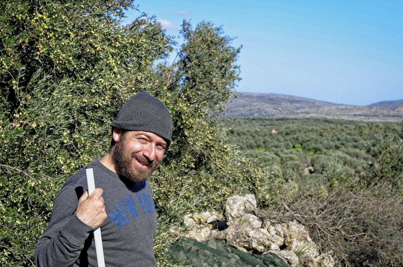 Stelios Kanakis on a chill November afternoon in the groves at Galatas