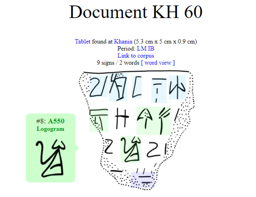 Linear A tablet from LMIB