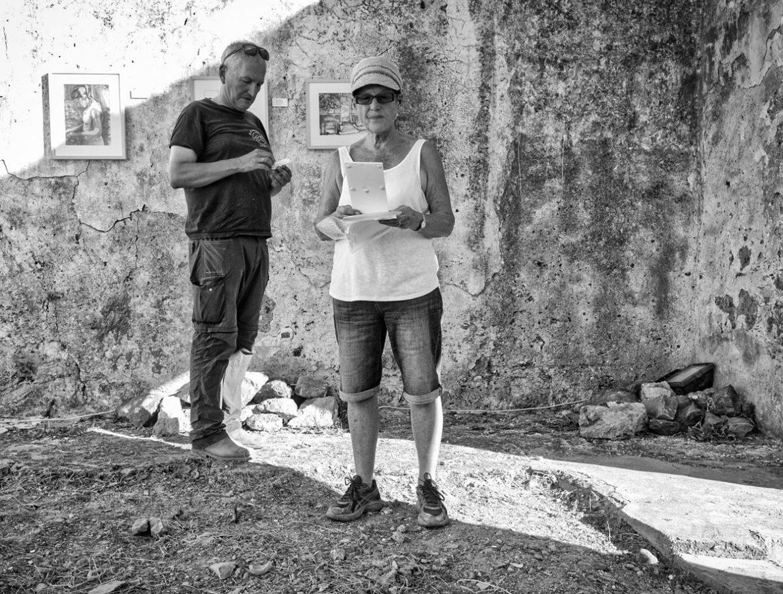 Jan Driessen with artist in residence, Rosemarie McGuire, at Vrachasi