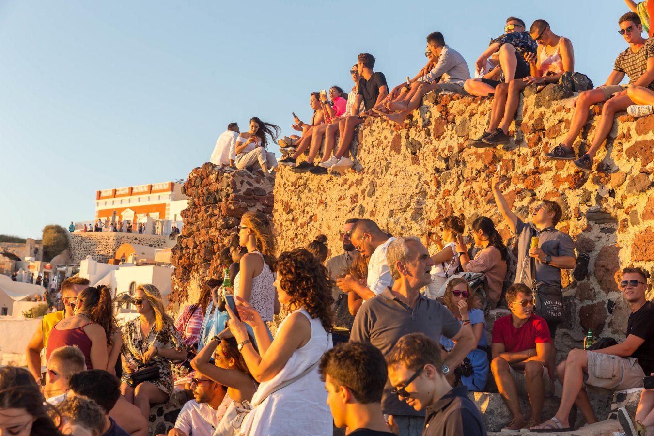 Santorini tourists